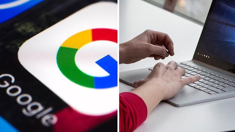 Google logga och dator.