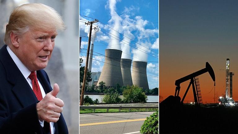 Tredelad bild: man gör tummen upp, kolkraftverk, oljekälla i Texas.