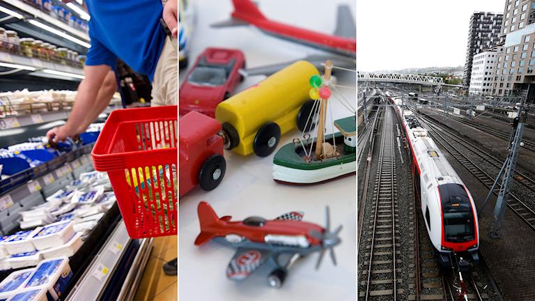 Person handlar i butik, leksaker och ett tåg.