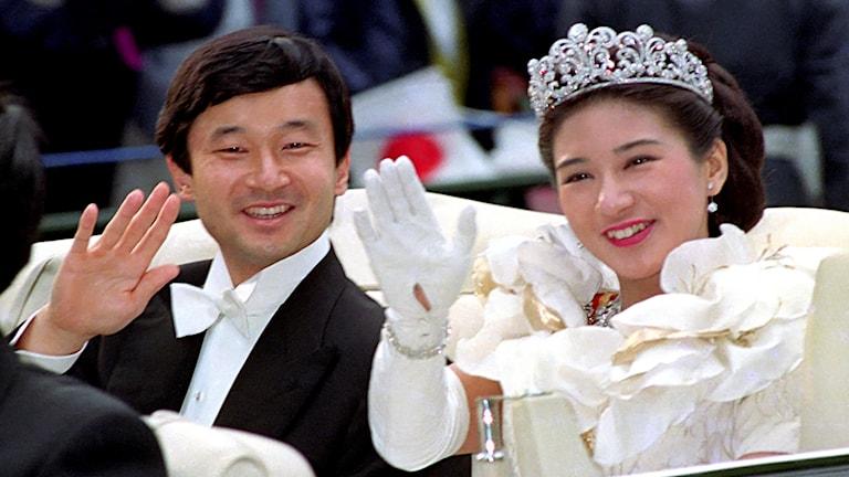 Arkivbild på nya kejsar Naruhito och hans fru Masako Owada.