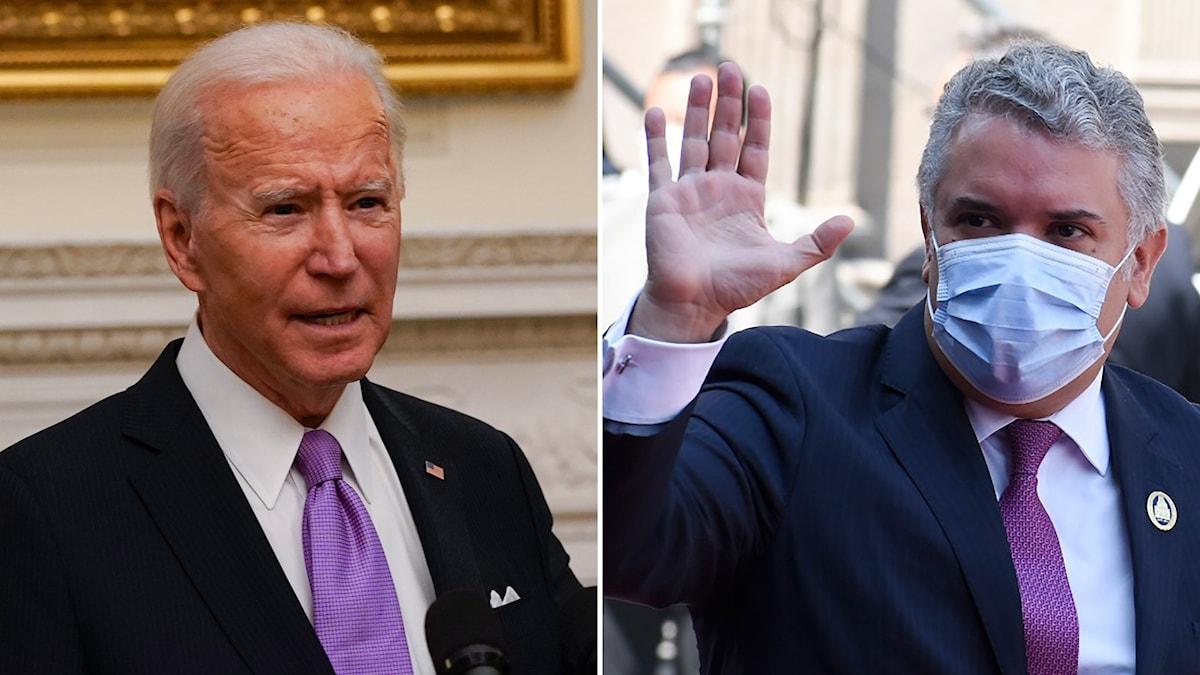 USA:s president Joe Biden och Colombias president Ivan Duque.