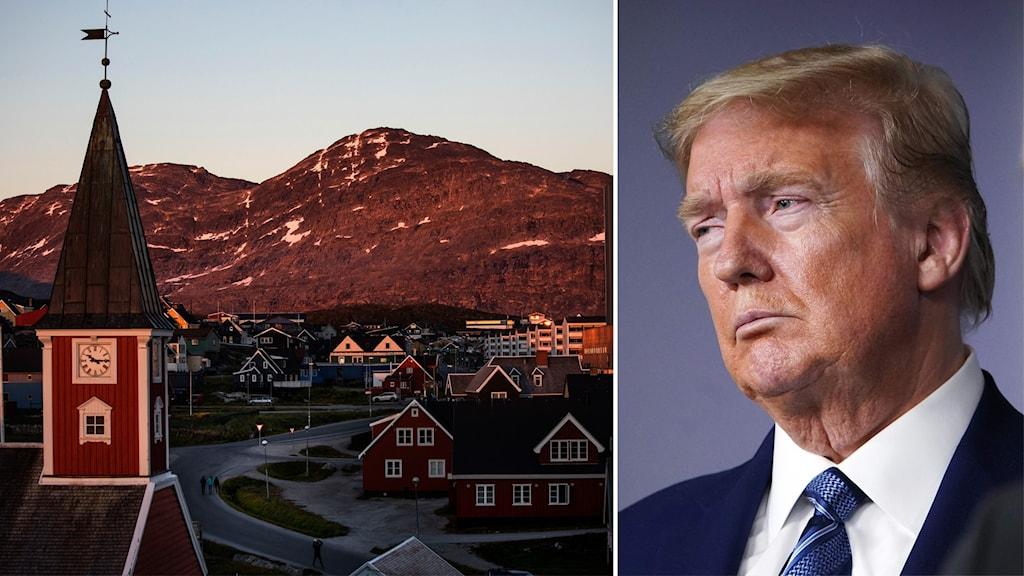 Bildsplit på Grönlands huvudstad Nuuk och USA:s president Donald Trump.