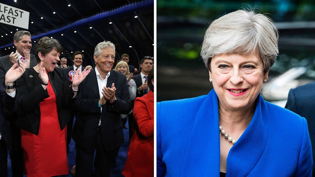 Ledare för partiet DUP, och Storbritanniens premiärminister Theresa May.