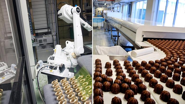 Delad bild: Industrirobot och chokladbollar på ett löpande band.