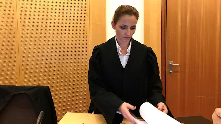 Åklagaren Marianne Bender inne i rättssalen i Oslo tingsrätt