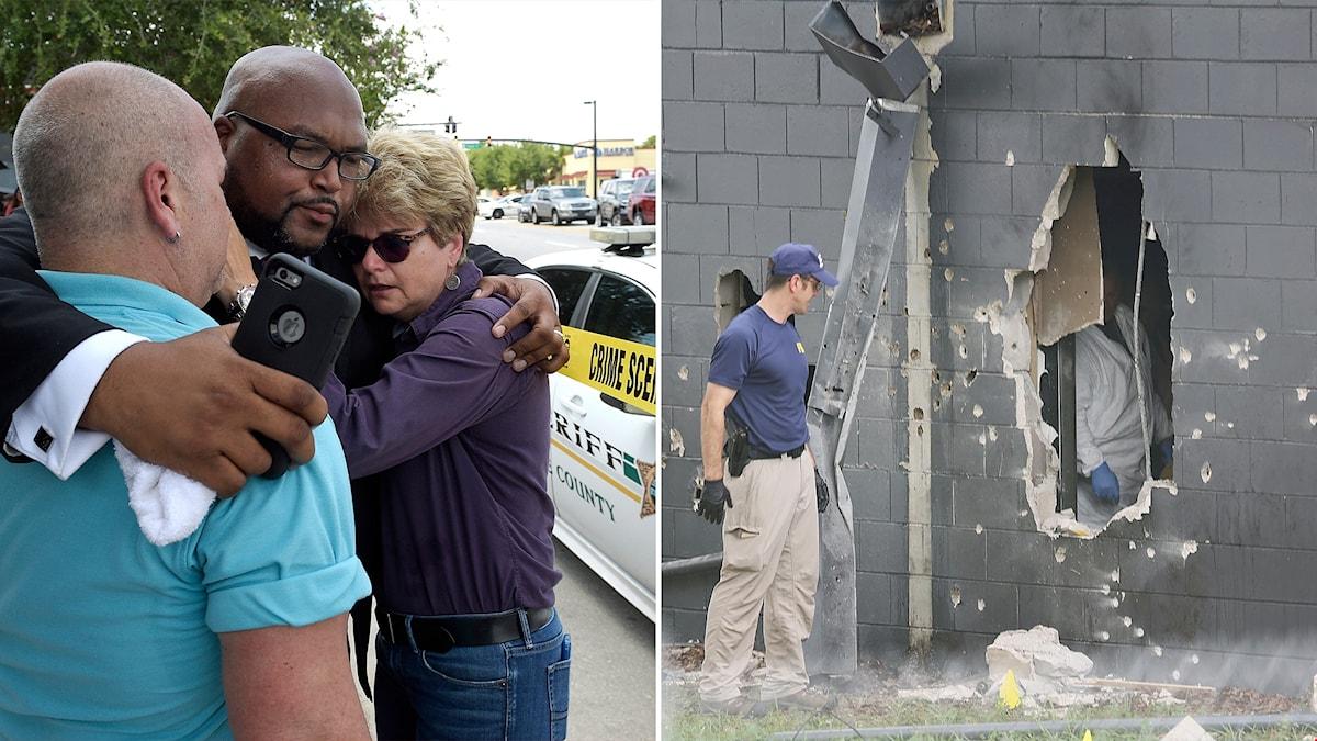Sörjande utanför nattklubben. Kriminaltekniker undersöker spåren av polisens stormning av lokalen på söndagsmorgonen.