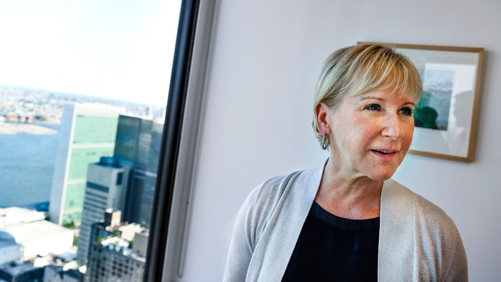Sveriges utrikesminister Margot Wallström vid Sveriges FN-delegation i New York i samband med den svenska kandidaturen för en plats i FN Säkerhetsråd.