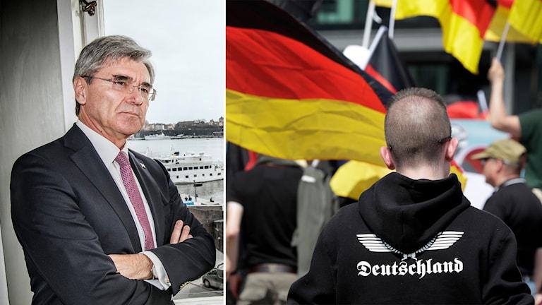 Delad bild: Man med armarna korsade, tysk flagga och snaggad kille med tröja med texten Tyskland.