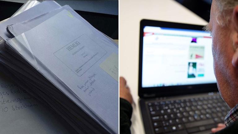 """Hög med dokument med stämpel """"Hemlig"""". Flicka med huvtröja ser ner i mobiltelefon i montage med man framför dator."""