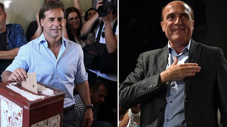 Luis Lacalle Pou, som leder högerkoalitionen, och Daniel Martinez från regeringspartiet.