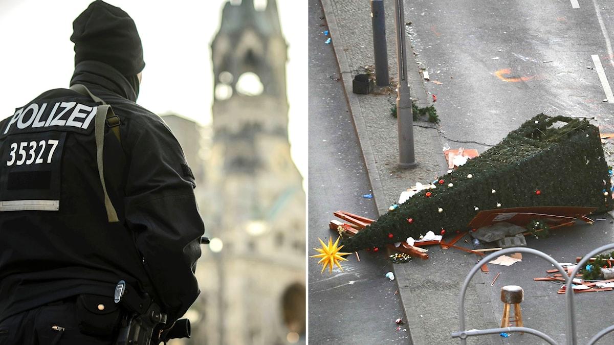 Tungt beväpnad tysk polis, till vänster. Höger, omkullvält julgran på marknaden efter attentatet.