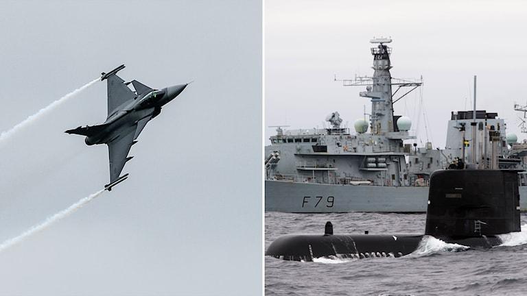 Gripenflygplan och ubåtsövning.