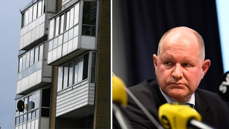 Koppargården i området Karlslund i Landskrona  och rikspolischefen Dan Eliasson. Foto: Maja Suslin/Johan Nilsson/TT. Montage: Sveriges Radio.