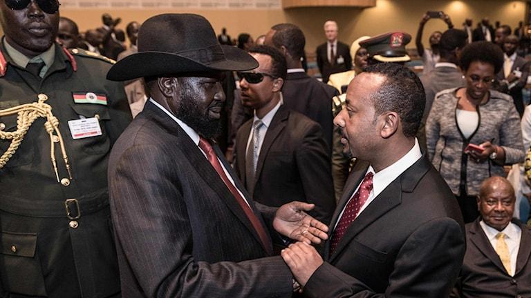 Sydsudans president Salva Kiir och Etiopiens premiärminister Abiy Ahmed.