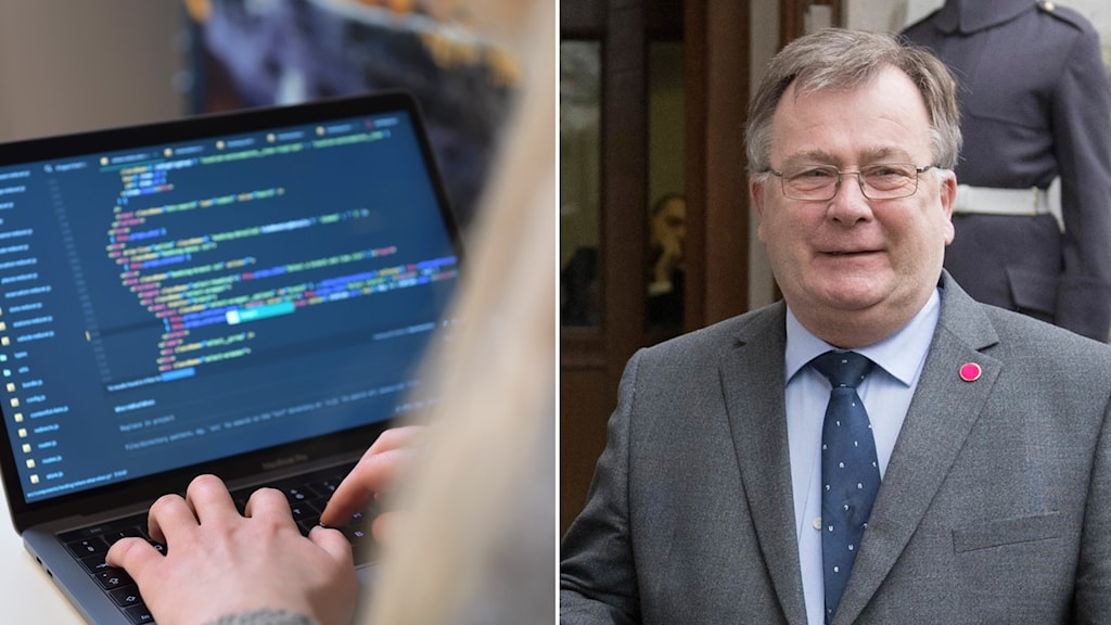 Dator som någon programmerar på och Claus Hjort Frederiksen, Danmarks försvarsminister