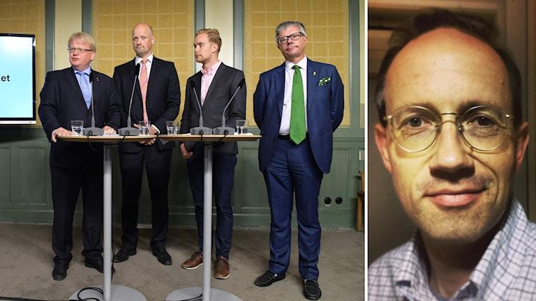 Bilkollage med fyra män på en presskonferens och porträtt på Mats Eriksson.