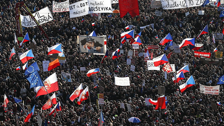 Protester i Prag, Tjeckien.