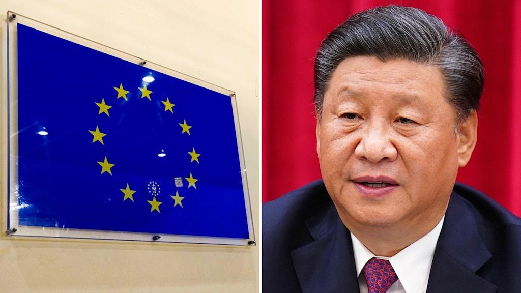 Montage med EU-flagga och Xi Jinping
