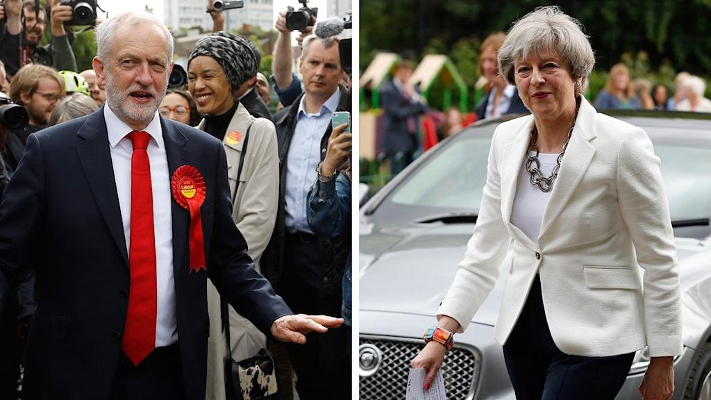 Theresa May och Jeremy Corbyn