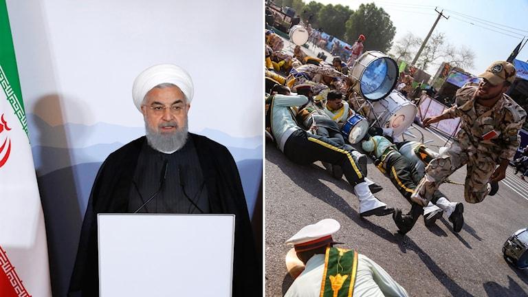Irans president Hassan Rohani och en bild på personer från militärparaden.