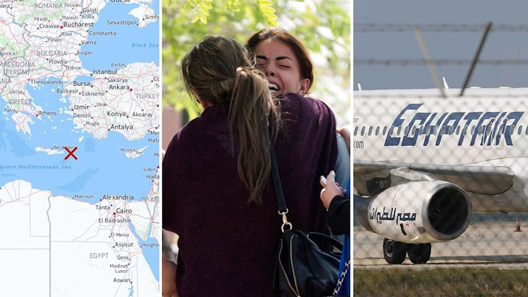 Karta över ungefärlig krasch, sörjande anhöriga. EgyptAir