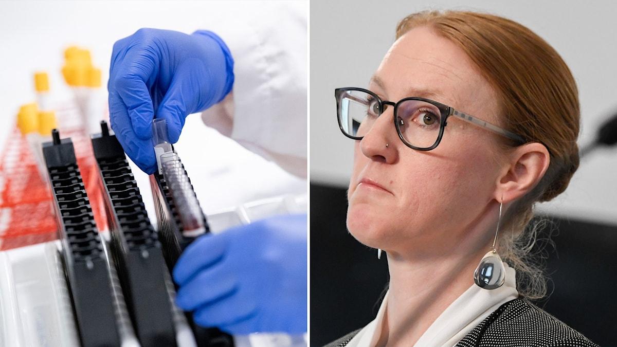 Montage med antikroppstester och SKR:s hälso- och sjukvårdschef Emma Spak.