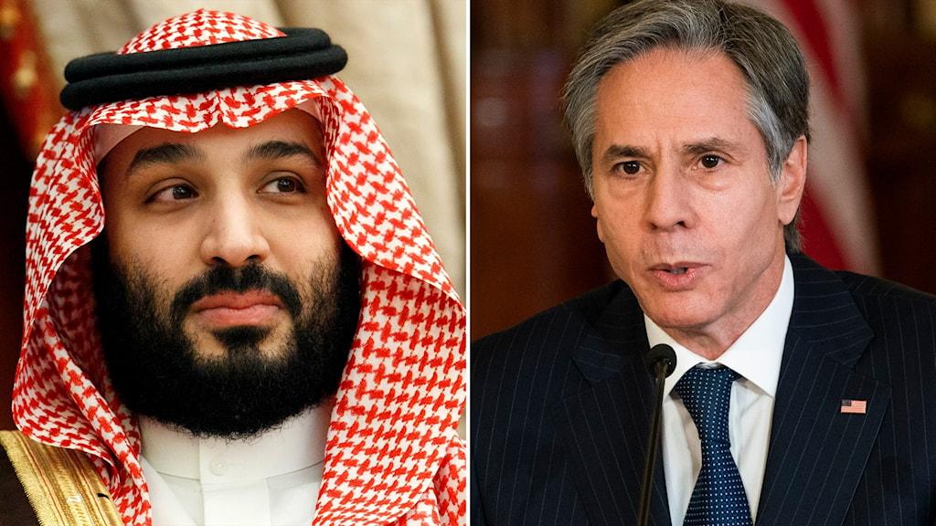 mohammed bin salman och usa:s utrikesminister Tony Blinkeen