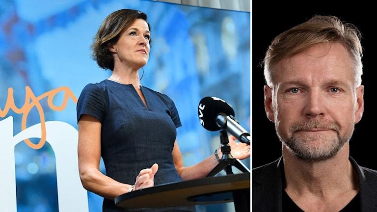Bildkollage med Anna Kinberg Batra och Tomas Ramberg. Foto: TT/Sveriges Radio.