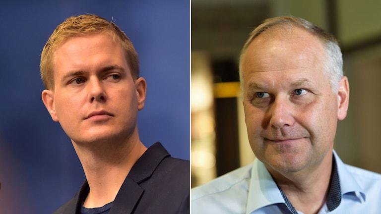 Miljöpartiets ledare Gustav Fridolin, till vänster. Till höger Vänsterpartiets partiledare Jonas Sjöstedt.