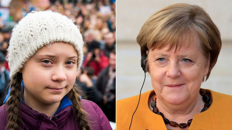 Greta Thunberg och Angela Merkel.