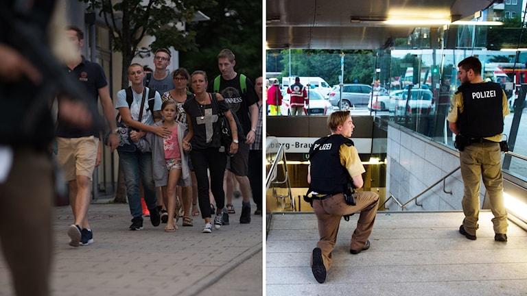 Poliser på tunnelbanestationen Georg-Brauchle-Ring i närheten av Olympia-köpcentret.