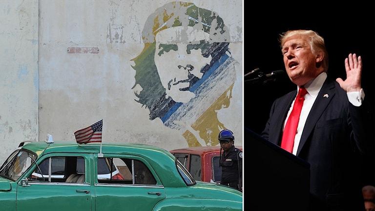 Delad bild: gammal bil med amerikansk flagga framför väggmålning av Che Guevara, och Trump som håller upp en hand.