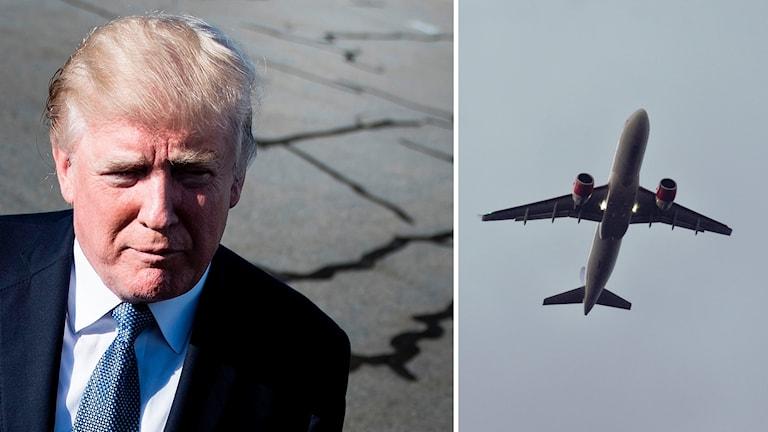 Donald Trump och ett flygplan