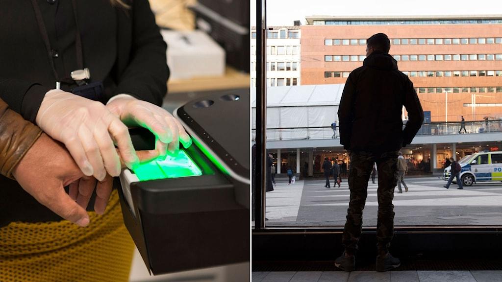 Fingeravtryck tas på en person som sökt asyl. Till höger, man står och tittar ut över Sergels torg.