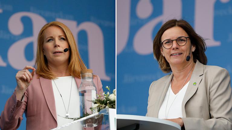 Annie Lööf och Isabella Lövin håller tal på Järvaveckan.
