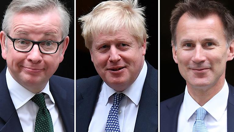 Miljöministern Michael Gove, tidigare utrikesminister Boris Johnson och utrikesministern Jeremy Hunt.