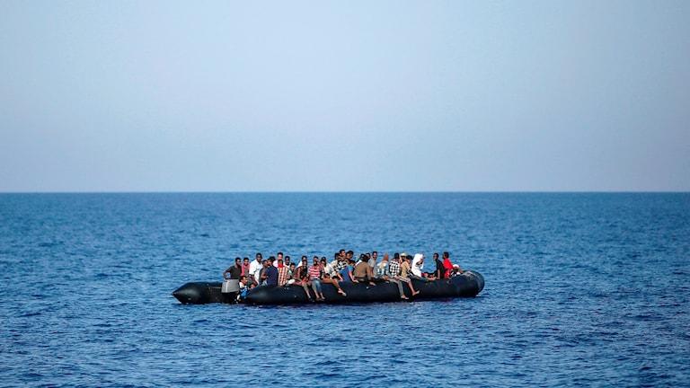 Migranter på medelhavet, 30 sjömil från Libyens kust. Bilden är tagen 6 augusti i år.