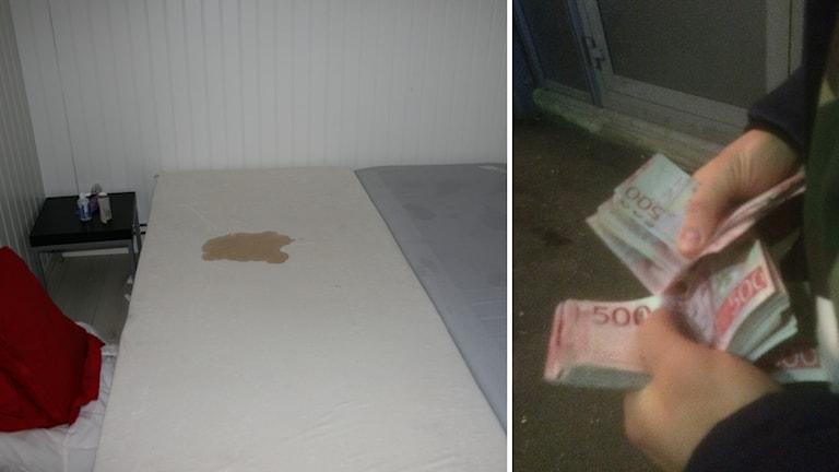 En smutsig säng och händer med pengar.