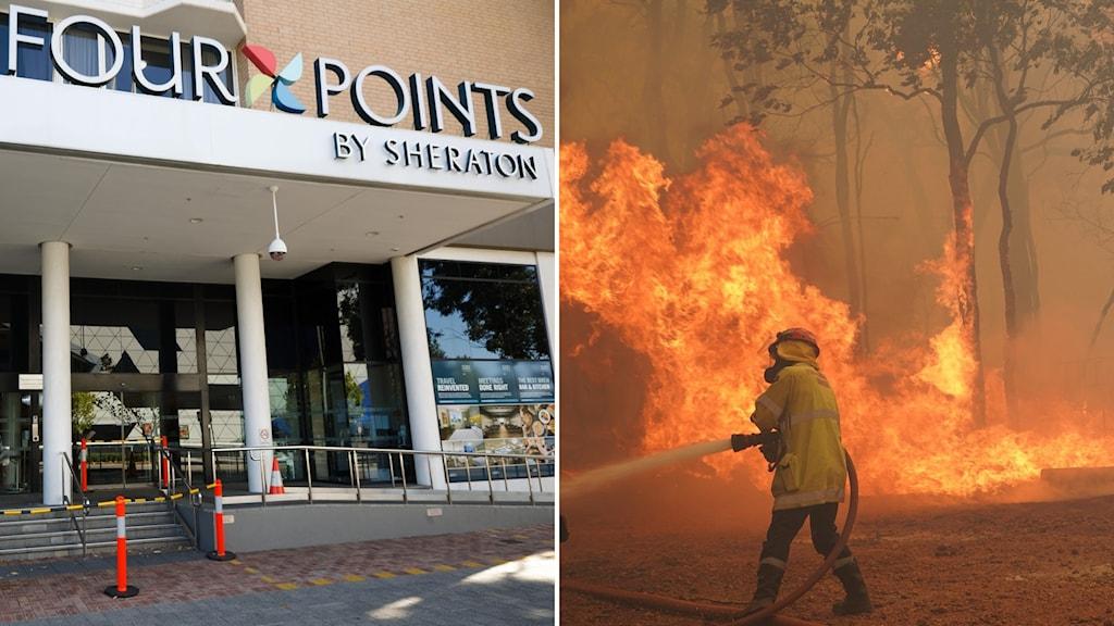 Ingången till ett hotell och en brandman (bildsplit)