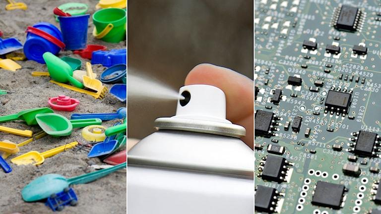 Tredelad bild: Plastspadar, insektsspray, elektronikdelar