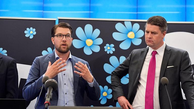 Sverigedemokraternas Jimmie Åkesson och Oscar Sjöstedt.
