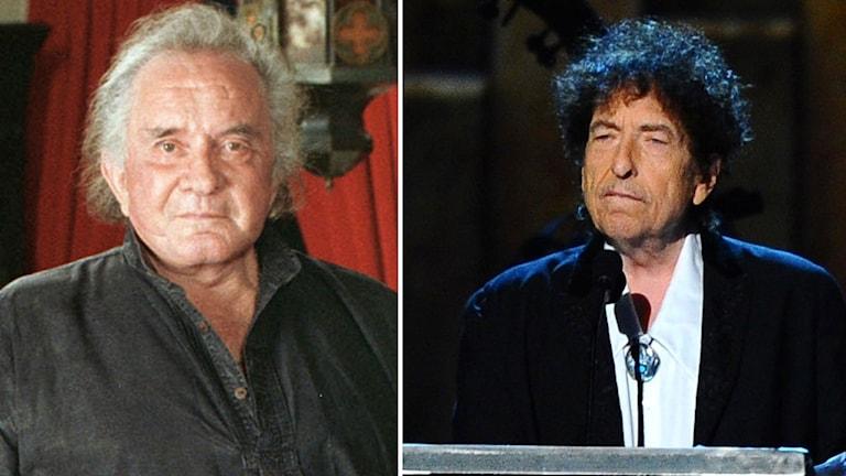 T. v. Johnny Cash, t.h. Bob Dylan