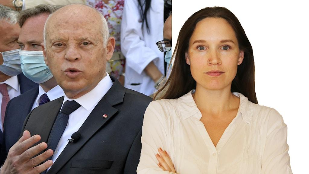 Tvådelad bild med Tunisiens president och Fanny Härgestam.