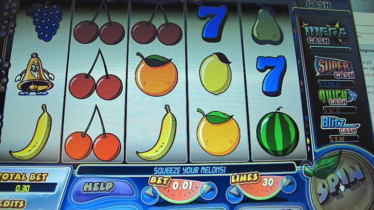 Bild på spel på ett onlinecasino. Arkivbild.