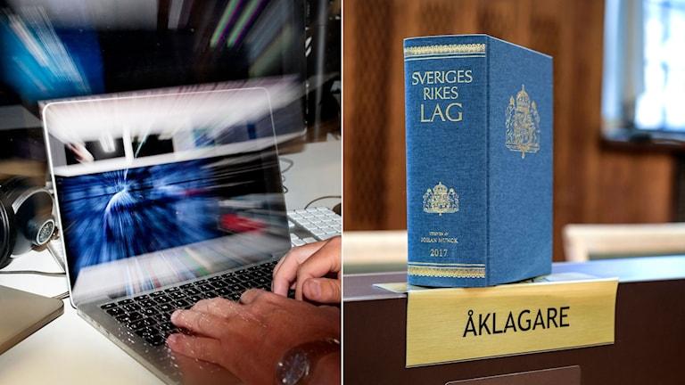Man sitter framför en laptop och skriver. Till höger lagboken vid åklagarplatsen i en rättssal.