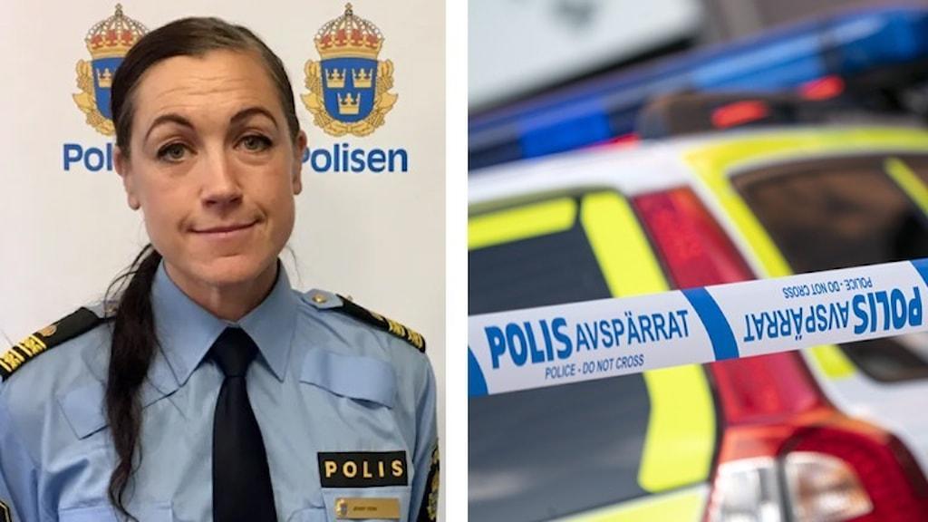 Jenny Edin från polisen och en polisbil