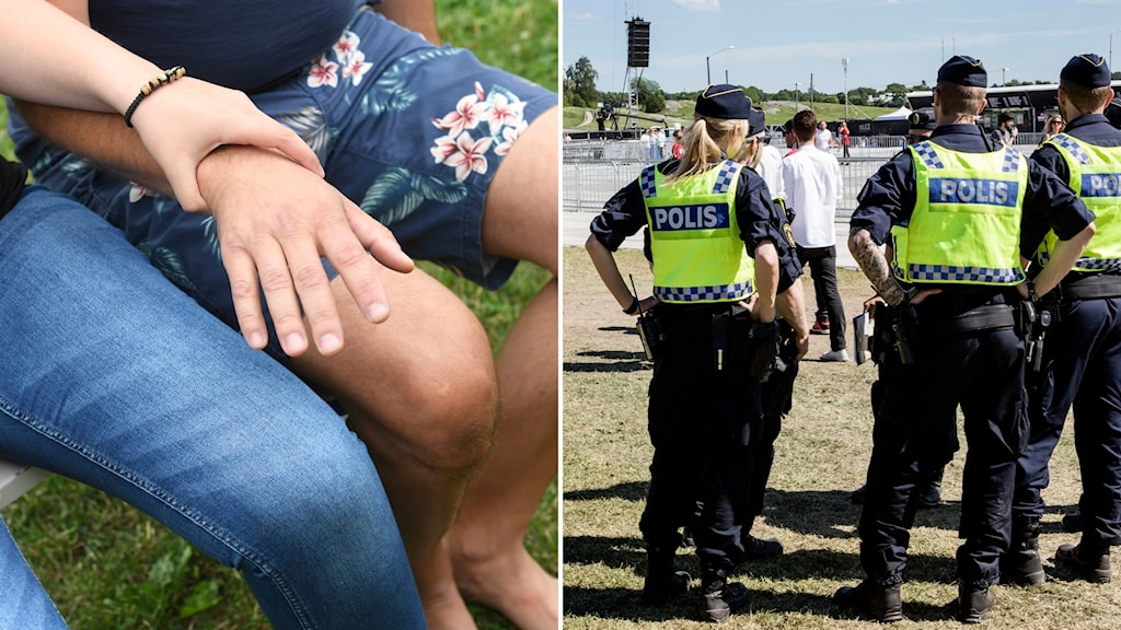 Man försöker ta kvinna på låret. Poliser bevakar evenemang.