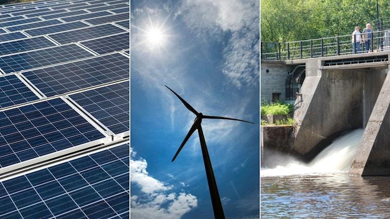 Tredelad bild: solkraftverk, vindkraftverk, vattenkraftverk.
