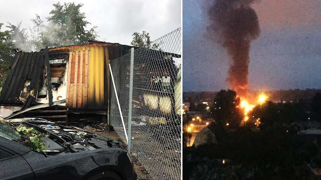 Explosion och brand på stripklubb i Örebro.