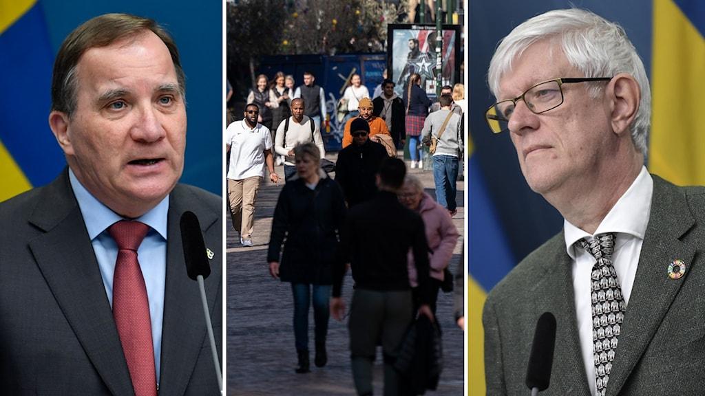 Statsminister Stefan Löfven och Johan Carlsson, generaldirektör på Folkhälsomyndigheten.